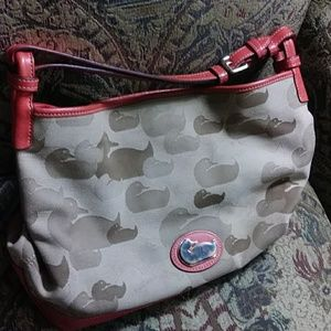 Dooney&Bourke large red leather and khaki purse!!!